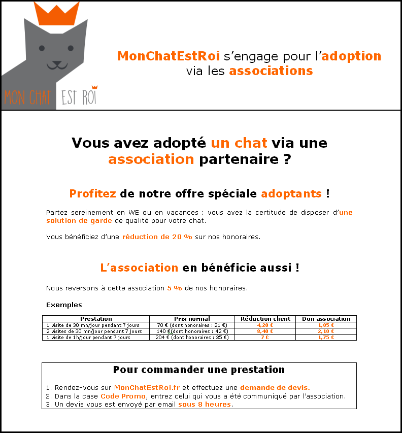 MonChatEstRoi s'engage pour l'adoption de chats - explications adoptants