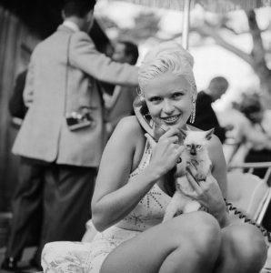 Jayne Mansfield et son chat