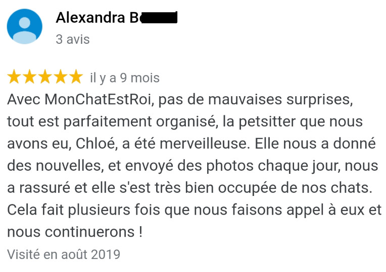 Avis MonChatEstRoi - Alexandra B