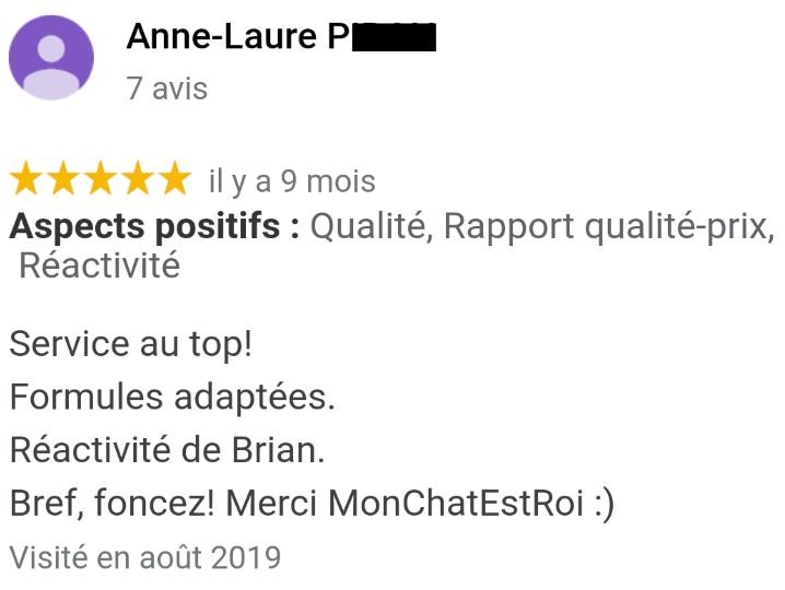 Avis MonChatEstRoi - Anne-Laure P