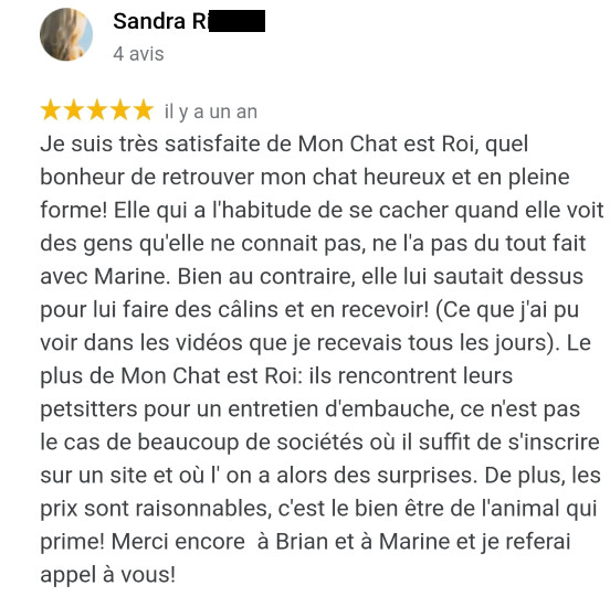 Avis MonChatEstRoi - Sandra R